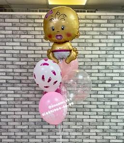 Фонтан из шаров на выписку «Малышка»
