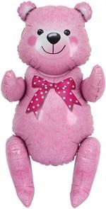 Сидячий мишка 81 см  в упаковке розовый