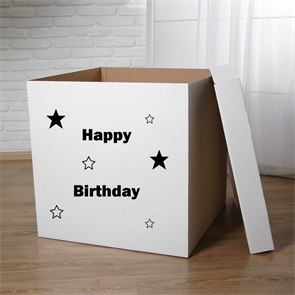 """Пустая коробка для воздушных шаров с надписью """"Happy birthday"""""""