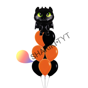 Фонтан из воздушных шаров на Хэллоуин «Дракон»