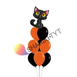 Фонтан из шаров на Хэллоуин «Чёрная кошка»