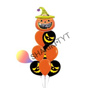 Фонтан из воздушных шаров на Хэллоуин «Зловещая тыква»