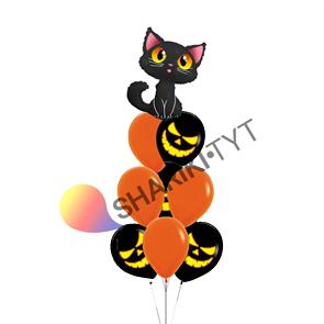 Фонтан из воздушных шаров «Хэллоуин, кошка»