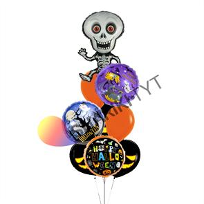 Фонтан из воздушных шаров «ассорти микс скелет» на Хэллоуин