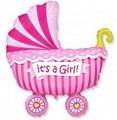 """Воздушный шар на выписку """"коляска"""" девочка. - фото 4613"""