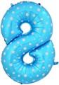 """Воздушный шар цифра """"8"""" голубая, со звездочками. - фото 4685"""