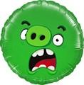 Фольгированный круг Angry Birds Зеленый - фото 5568