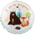 """Воздушный шар круг """"С днём рождения Лесные друзья"""" - фото 6069"""