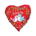 """Воздушный шар Сердце 46см """"Птички воркующие"""" для влюбленных - фото 6447"""
