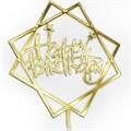 Топпер в торт, Happy Birthday, золото - фото 6509